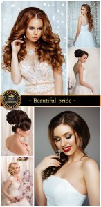 Beautiful bride, wedding dress - stock photos