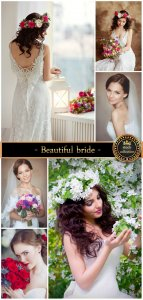 Beautiful bride with flowers - stock photos