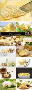 Dairy products, cheese, butter - stock photos