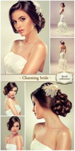 Charming bride in a beautiful dress - stock photos