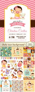 Baby toys background, vector