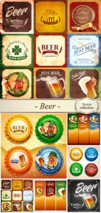 Beer, backgrounds and labels vector