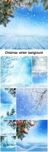 Christmas winter background with fir tree