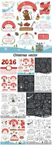 Christmas, various elements in the vector