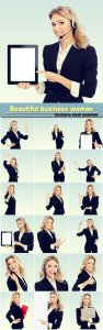 Beautiful business woman in different images